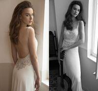 latest bridal wedding gowns - 2015 Latest Design Scoop Spaghetti Straps Backless Wedding Dresses bridal Gowns Applique Sheath Chiffon Sweep Train Wedding Dress Sleeveless
