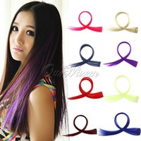 Wholesale 1Piece New Fashion Women Multicolor Long Straight Synthetic Clip in Hair Extensions Piece Hairpiece JF