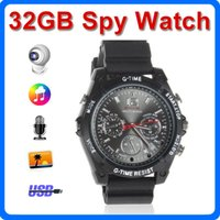 Wholesale 32GB HD P Spy Camera watch Waterproof Hidden Camera and Night Vision Audio Video Voice Recorder Mini DV DVR Camcorders Wrist Spy Watch