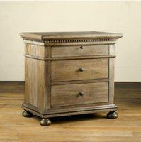 Wholesale American country solid wood furniture elm vintage carved for imperial household nightstand in bedroom