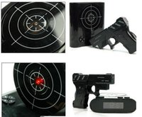 Wholesale Free DHL Novelty Gadget Target Gun Shooting Alarm Clock Lock N Load Target Alarm Clock Toy Gift Clocks