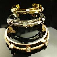 Wholesale Hot selling women double deck stainless steel bracelet high quality wire open cuff bangle jewelry bracelet
