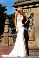 Cheap 2015 Tarik Ediz Sexy Ivory Mermaid Satin Evening Dresses Formal Gown with Open Back Lace Prom Dresses