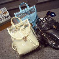 Women picnic backpack - Transparent PU Double Shoulder Bag Pure Color Backpacks Girls Outdoor Traveling Picnics Knapsack hb278