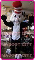 Wholesale Cat Mascot Costume Fancy Dress - Hot Sale The Cat in the Hat Dr. Seuss Mascot Costume Halloween Costumes Fancy Dress theme Birthday Party Mascotte Kits Suit