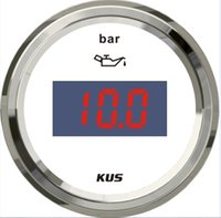 Wholesale 52mm white faceplate Digital Oil pressure gauge Instruments bar for marine boat universal stainless steel bezel signal ohm