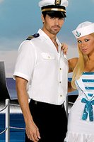 Wholesale Navy sailor uniforms male white male models Bar nightclub stage performance clothing party theme costumes for men