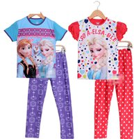 cotton nightgown - 30sets color size frozen elsa anna kids girls boy autumn summer Leisure pajamas pure cotton sleepwear Nightgown hql