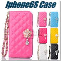Cheap 2016 For samsung s7 Case Multi-Function Wallet PU Card Slot Case Protable Rose Flower Chain Diamond Pendant Iphone 6 Case Opp Package