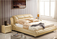 beds leather - GENUINE LEATHER BED LUXURY STYLE GOLDEN YELLOW SIMPLE FASION DOUBLE PERSON GOOD QUALITY CM A38D