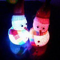 Wholesale 2015 New Christmas Snowman hat scarves crystal lamp Colorful Night Light Colorful Snowman Christmas gift ideas toys