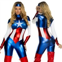 america suit - women s American captain America Avengers costume lady US hero captain tights dress cosplay sassy deluxe Halloween party cosplay zentai suit