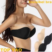bh silicone - Women D Cup Silicone Strapless sutian adesivo Invisible Bras Push Up Adjustable Sexy Seamless Brassiere Female Intimates bh