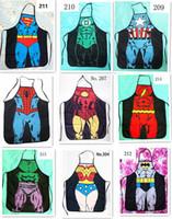 Wholesale 100pcs HOT sale Sexy Men Women Apron superhero Apron spiderman avengers Batman Kitchen Cooking Chef Novelty Funny Naked BBQ Party D477