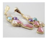 Wholesale SUMNI Colorful Pink Long Chandelier Earring Candy Color Stud Banquet Dangle Earrings Catwalk Model Fashion Show a FREE GIFT
