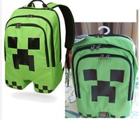 Wholesale Minecraft creeper backpack Game My World Children School Bags Kids Boys Mochila Double Shoulder Bag Block Coolie Strange