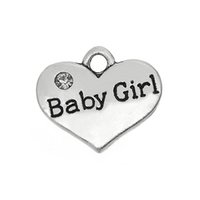 Cheap 100pcs lot Baby Girl On Heart Charm Zinc Alloy Antique Silver Plate For Handmade Jewelry (H110246)