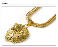 lion head necklace - 2015 High quality K Gold Plated Lion head Medal Necklace Hip hop fashion Rap Golden Crucifixio Pendant MEN s nake Chain Necklace Men