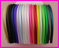 Wholesale 60PCS Assorted Colors mm Satin Fabric Wrapped Plain Plastic Hair Headbands at Bargain for Bulk