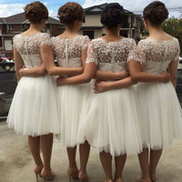 Wholesale White Bridesmaid Dresses Short Sleeves Bridesmaid Dress Lovely Tulle Lace Short Party Dresses Knee Length Plus Size Prom Dresses
