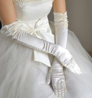 Wholesale Cheap Beautifully Full Finger Satin and Pearls Above Elbow Length party Wedding Bridal Glove Bridal Accessories bridesmaid party Gloves