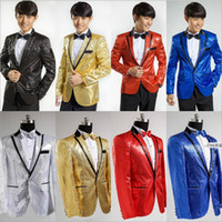 Cheap 2015 Red Yellow Blue Black White get married Men Wedding Sequins Suits Groom Tuxedos suit evening party dress