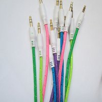 Wholesale Fabric Braided mm AUX Stereo Auxiliary Car Audio Cable Male to Male for iPhone s s Samsung Galaxy S5 PDA ipad MP3