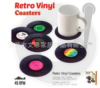 Wholesale Retro Vinyl Coasters Classic Disc Antiskid Heat Insulation Drinks Cup Mats Disk Pads set Table Decorate