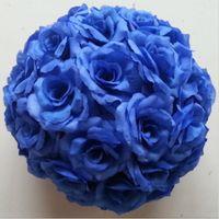ball wedding theme - Romantic Theme Dark Blue Artificial Silk Flower Ball Hanging Kissing Balls cm to CM Ball For Wedding Party Decoration Supplies