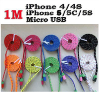 Wholesale 1M FT Noodle Knit Fabric Braided Data Cable Sync Charger Cloth Braid Woven Cord rome electronics