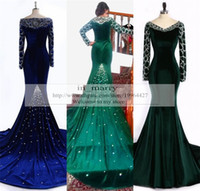 muslim art - Real Images Muslim Arabic Dubai Formal Dresses Evening Gowns Royal Blue Turquoise Velvet Crystal Beads Plus Size Dubai Prom Party Dress