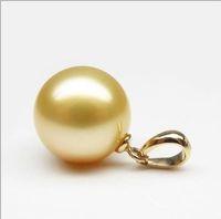 Wholesale 2015 HOT AAA mm SOUTH SEA Shell Pearl Pendant K Gold mark