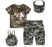 Cheap 4 pieces Camouflage sets Boys kids outfits (t-shirts+ shorts+ hats+ Backpack) set t-Shining short sleeve A4