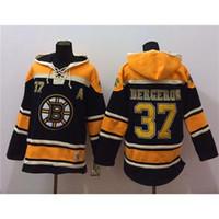 warm up jackets - Patrice Bergeron Black Hockey Hoodies Bruins Players Jackets Lace Up Winter Sportswear Warm Hooded Sweatshirts Mens Hockey Uniforms