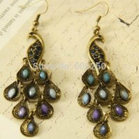 beautiful track - Hot sales Fashion retro beautiful blue peacock long Tassel earrings jewelry for women order lt no tracking