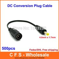 Wholesale 4 mm x mm Male Plug to mm x mm female socket DC Power Adapter cable Conversion Plug Fedex DHL