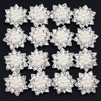Wholesale 17MM Artificial Sparkly Snow Flower Shape Alloy Rhinestones Pearl Buttons For Wedding Hair Accessories