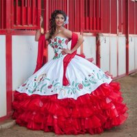Wholesale Quinceanera Dresses White And Red Tiered Draped Sweetheart Embroidery New Fashion Sweet Dresses Vestidos De Anos