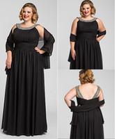 full figure dresses - Plus Size Long Floor Length Black Formal Evening Dresses Gowns Beaded Chiffon Full Figure Women Formal Wear With Shawl
