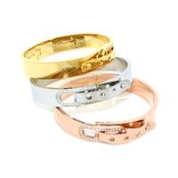 Wholesale Fashion Brand L Titanium Steel CZ Stones Belt Buckle Bangle Bracelet Punk Crystal Rhinestone Clasp Silver Rose Gold Women Cuff Bracelets