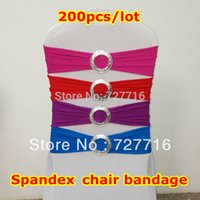 Cheap 200pcs lot Spandex lycra chair bandage with buckle chair sash for banquet and wedding chair cover