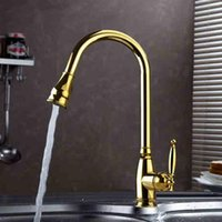Wholesale 2015 New Arrival High Quality Water saving Luxurious Gooseneck Tap Gold Kitchen Faucet Pull Out Sink Mixer