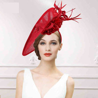 Wholesale 2015 New Arrival Red Ivory Linen Silk Flowers Feathers Pageant Party Hats With Band Circumference cm