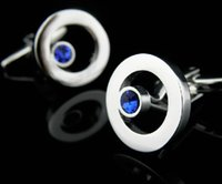 Wholesale Blue Crystal Silver Cufflinks For Shirt French Cufflink Fathers Day Gifts For Men Jewelry Wedding Cuff Links C133