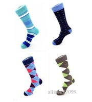 Wholesale DHL Men s Happy colorful stripes Dress socks size Combed Cotton comfortable durable busiess Sock calf high