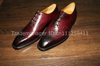 bespoke handmade shoes - bespoke handmade pure genuine calf leather men s dress classic casual oxford color red wine shoe