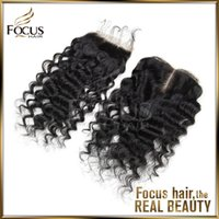 Wholesale Curly Lace Closure Bleached Knots Brazilian Virgin Deep Curly Human Hair Closure Free Middle Part