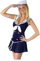 adult party hats - New Sexy Pieces Sailor Uniform Adult Costume Anchors Away with Hat Halloween Party Clubwear Womens Cosplay Sets