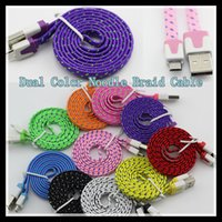 Wholesale Dual Color Micro USB V8 Flat Noodle Braid USB Cable For for Samsung Galaxy S4 Note Sync Data Charging Adapter Lead Cord for HTC LG Nokia