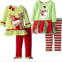 Wholesale Cartoon Christmas deer snow treasure long sleeved clothes CM girls autumn children cotton suit t shirt striped leggings sets B20